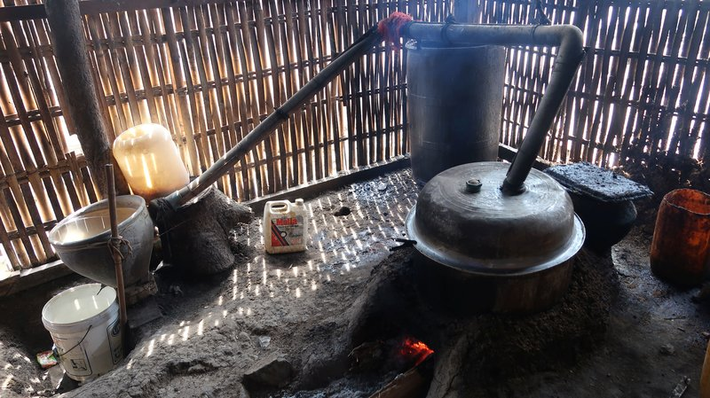 We visited a simple rice wine distillery at Inle Lake, Myanmar. And tasted the still warm cask strength product.