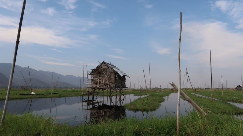 The pole houses of Inle Lake, Myanmar.