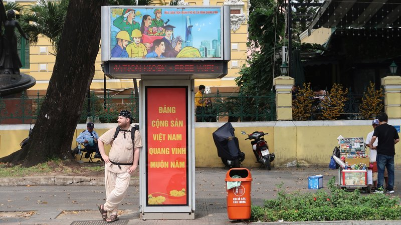In front of the post office building in Saigon, Vietnam.