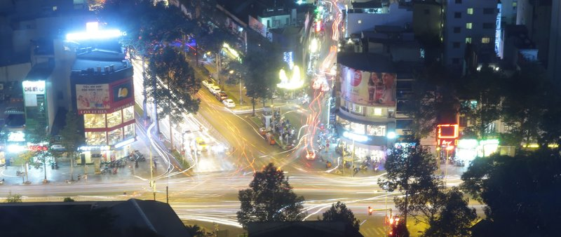 The Bui Vien backpacker street and busy crossing as seen from the Air 360 Sky Bar in Saigon, Vietnam.
