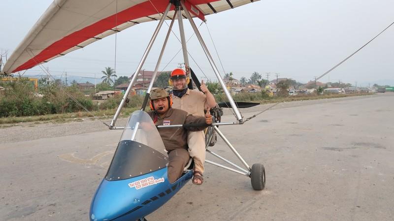 Power delta wing flight in Vang Vieng, Laos.