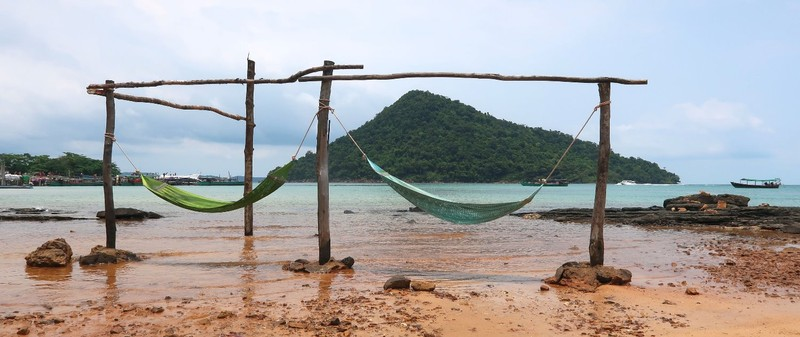 The hammocks at the beachfront outside my hostel in Koh Rong Sanloem, Cambodia.