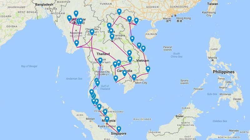 My backpack route of 113 days in this order: Singapore, Malaysia, Thailand, Myanmar, Vietnam, Laos, Cambodia.