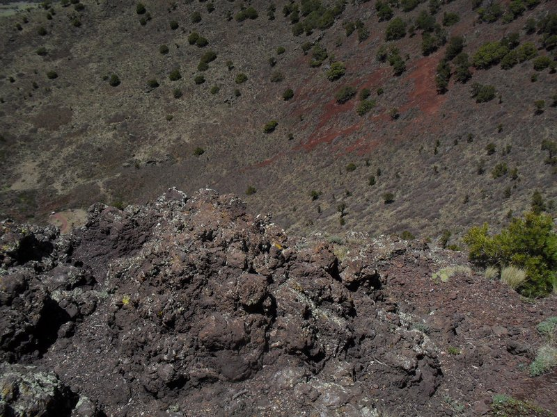 Looking down into the crater.