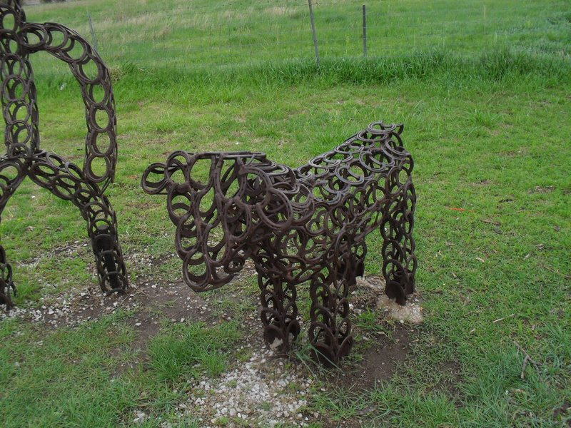 """A sculpture at the """"scenic overlook"""" northeast of Dodge City, KS on US-56"""
