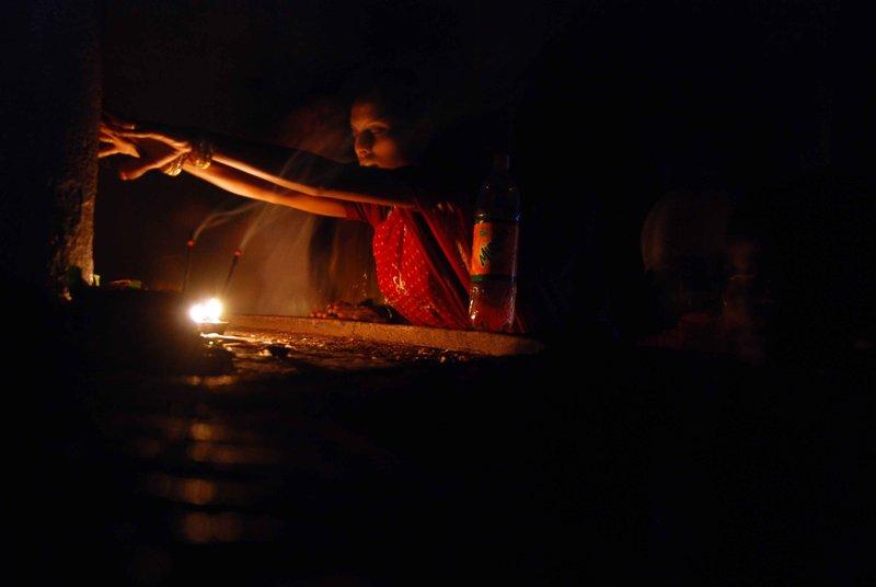 Praying in Kailasa temple