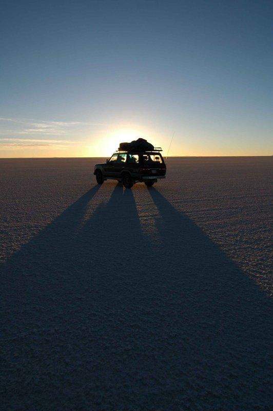The car at sunrise