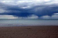 Rain over the beach