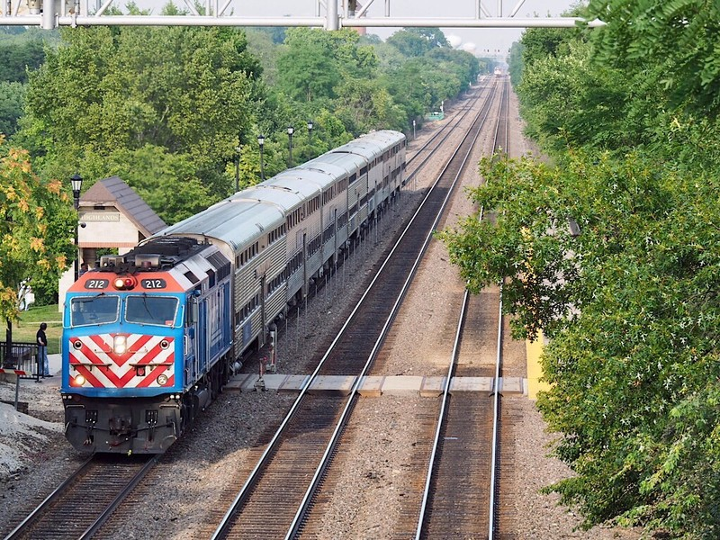 Metra Trains westbound at Highlands Station