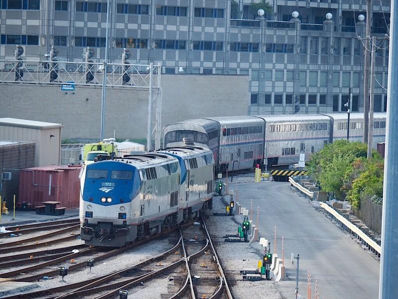 Amtrak train backs up into Chicago Union Station