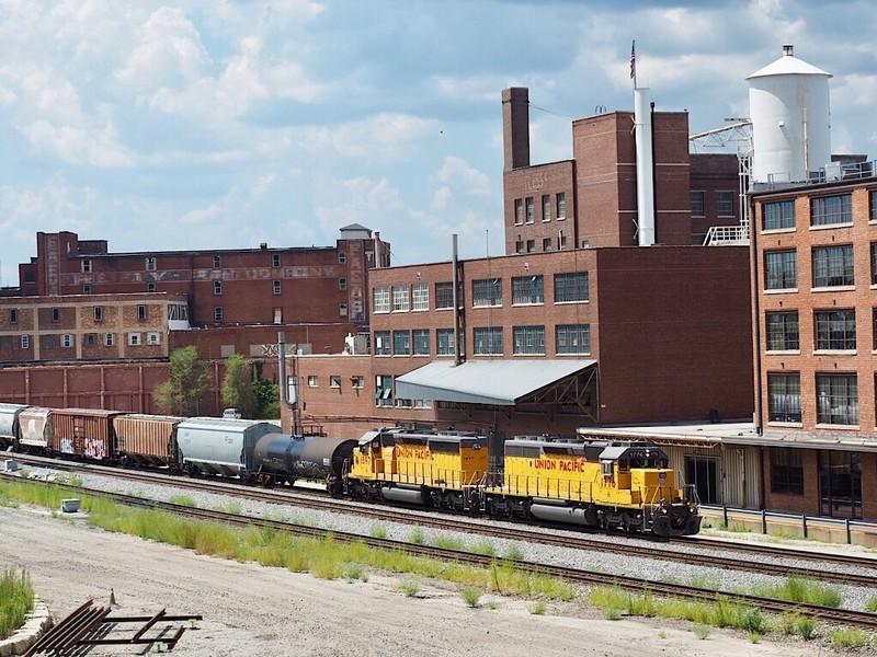 Union Pacific freight train passes through Kansas City's West Bottoms