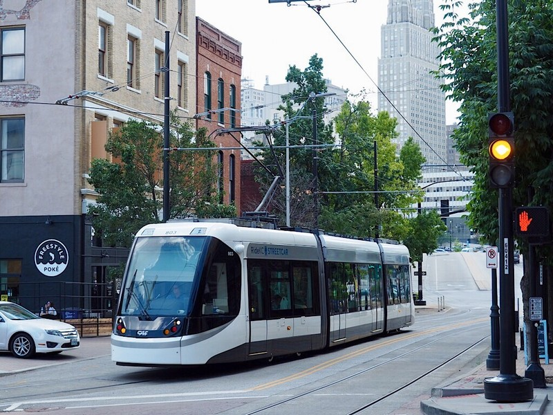 Modern Streetcar on Main Street in Kansas City, MO