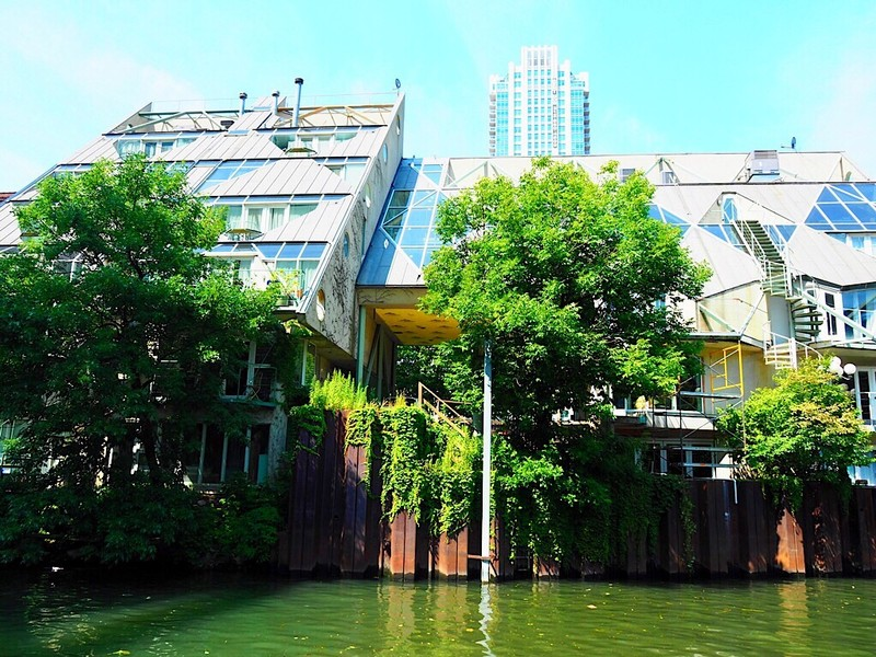 House at canal in Chicago