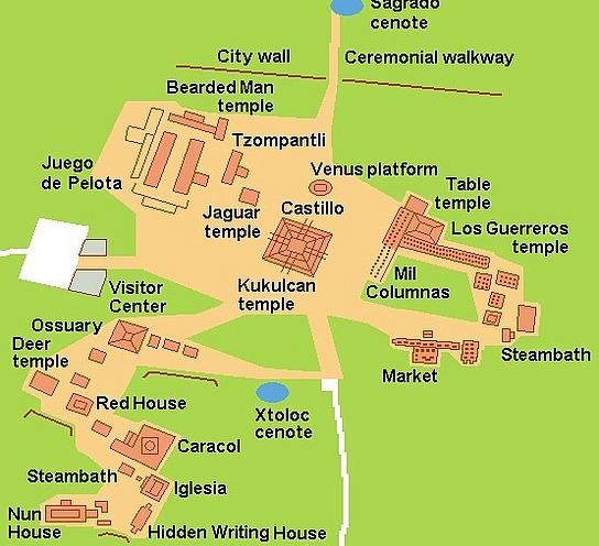 Map of Chichen Itza