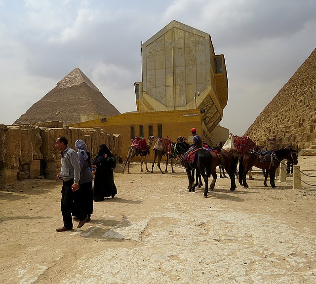The Cheops Museum next to a Pyramid.