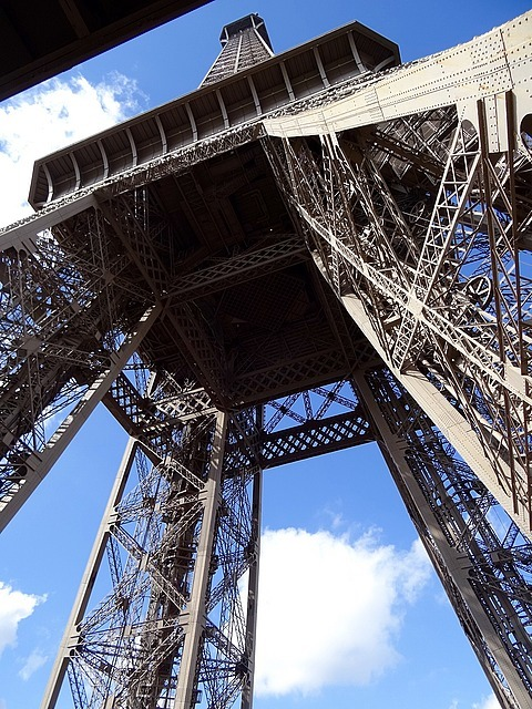 Standing under and looking up at the Eiffel Tower.