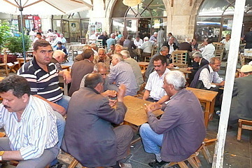 Urfa  Men in the tea house playing games
