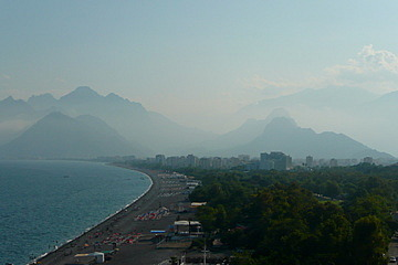 Antalya beach with Taurus mountains behind.