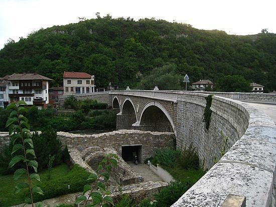 Crossing the Bridge to Trapezitsa Hill