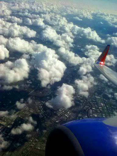 View from Plane.Puff Clouds