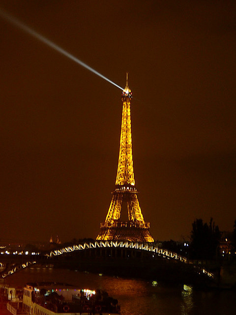 Eiffel Tower as seen from the Seine at night