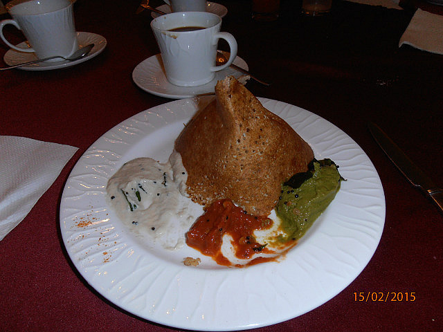 Dosa and chutneys for Breakfast