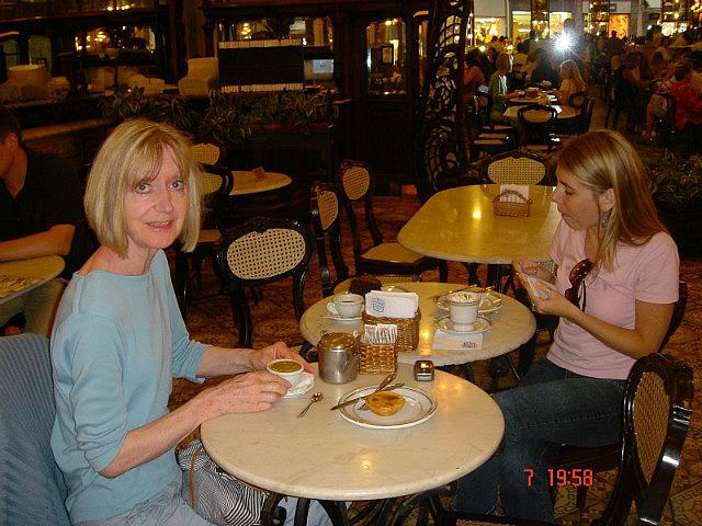 Monica enjoying Coffee and Nata tart