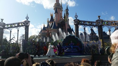 Villan Show in front of Sleeping Beauty's Castle