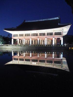 Palace lit up at night