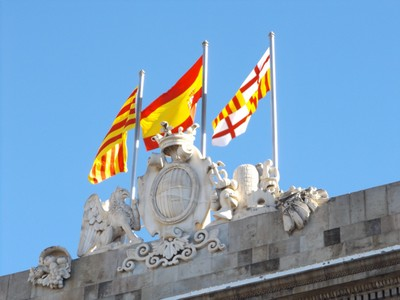 Flags of Spain, Catalunya, and Barcelona