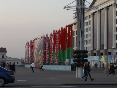 "Belorussian flags, hopefully you can see the ""woven"" pattern"