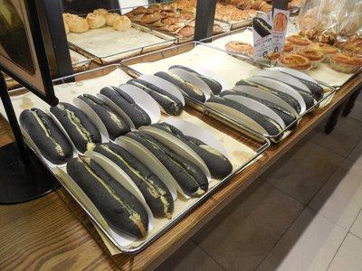 Squid ink bread sandwiches