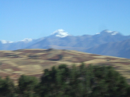 Snow-capped mountain from the bus