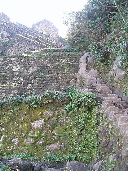 stairs at the top of Wayna Picchu