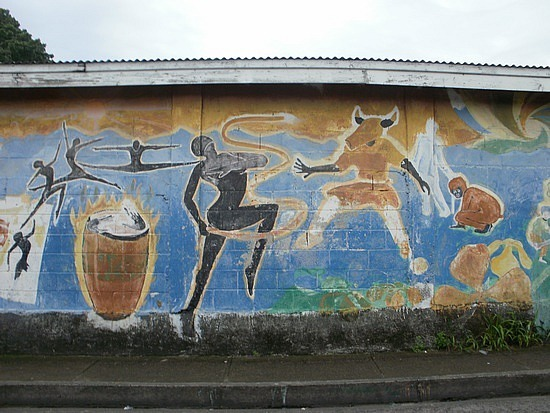 Mural at town along road around island