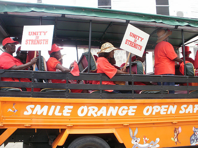 Bus of old marchers
