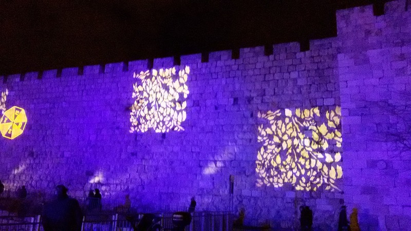 Light show on old city wall