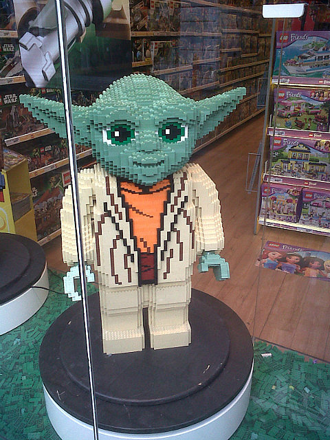 Lego Yoda in shopping area