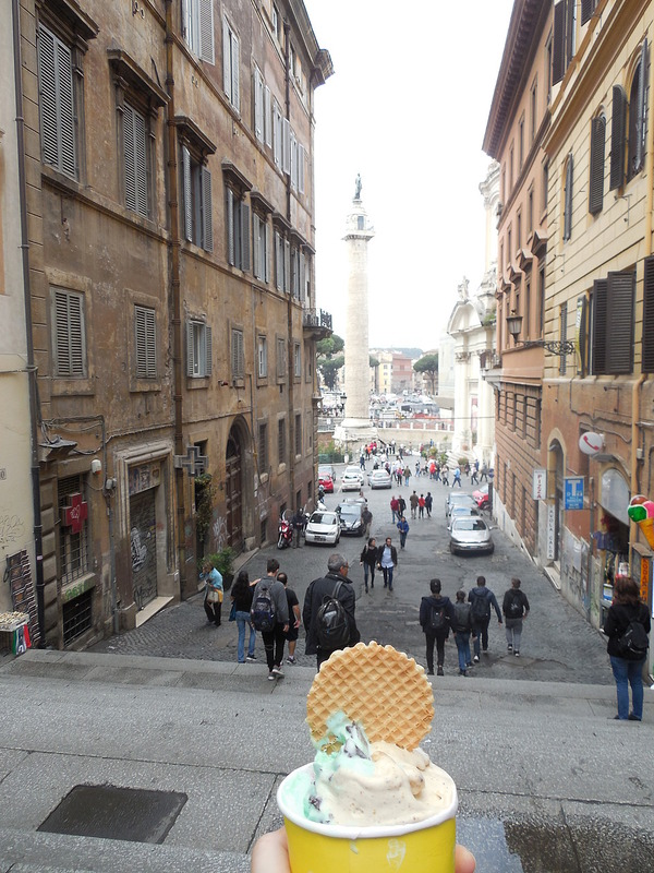 Gelato at Trajan's column