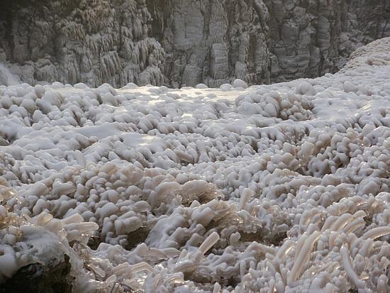 icy stalagmites