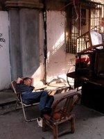 Old City, Chair Repairman Sleeping, Shanghai