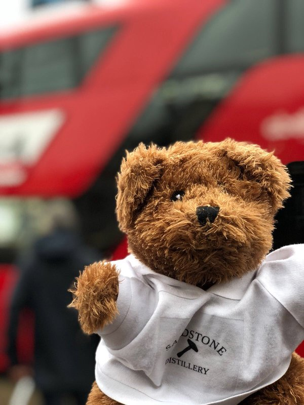 Look at me on the big red London bus!
