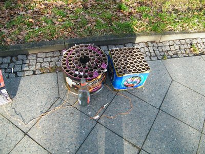 Remains of fireworks on footpath