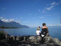 Jen and Elia on Lake Lausanne