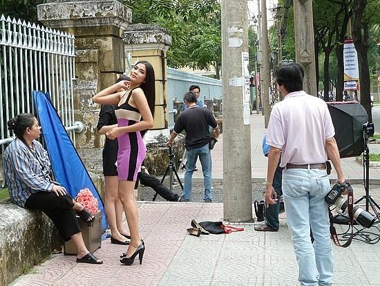 Model at photo shoot