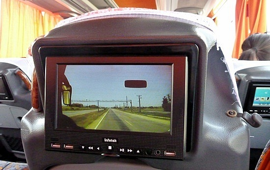 Seat screens that show the driver's view
