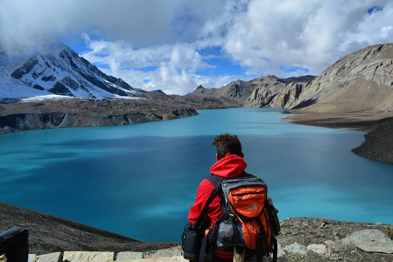 hiking to the tlicho lake during annapurna circuit trekking