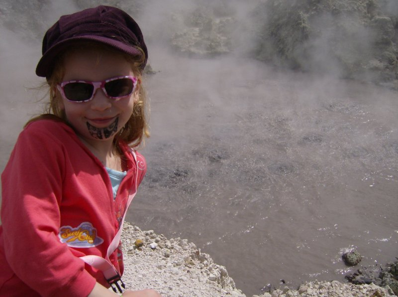 Eleni by the bubbling mud