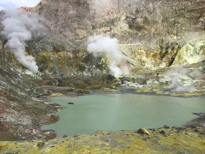 The acidic lake and fumeroles