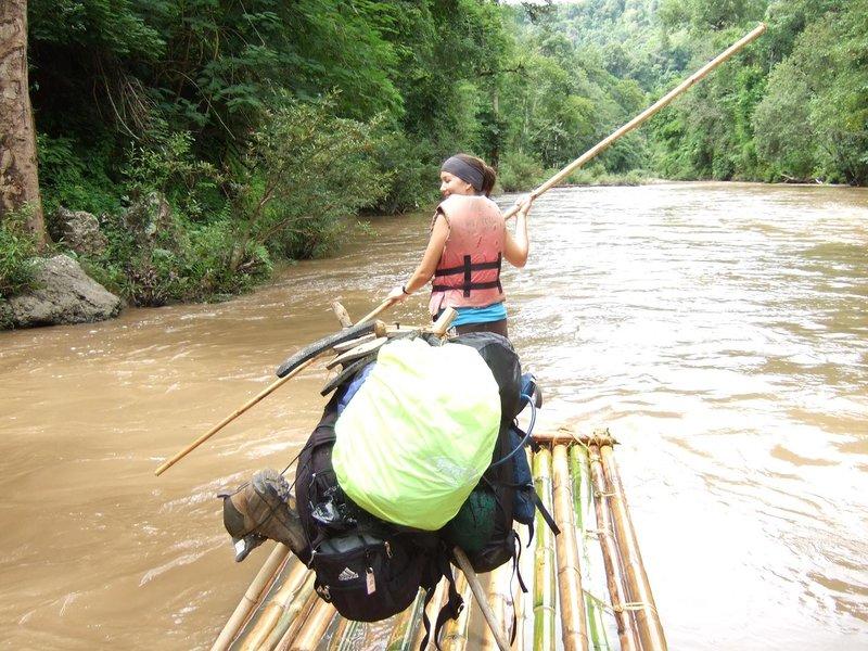 Erin steering the raft